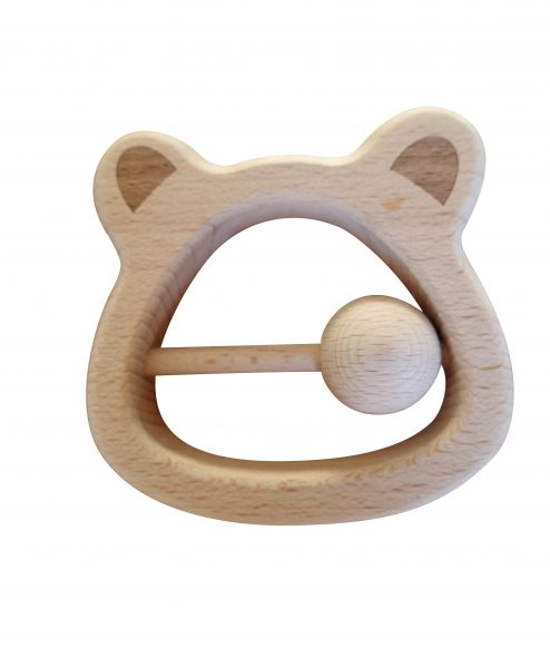 Mama Bear Beech Wood Teething Rattle