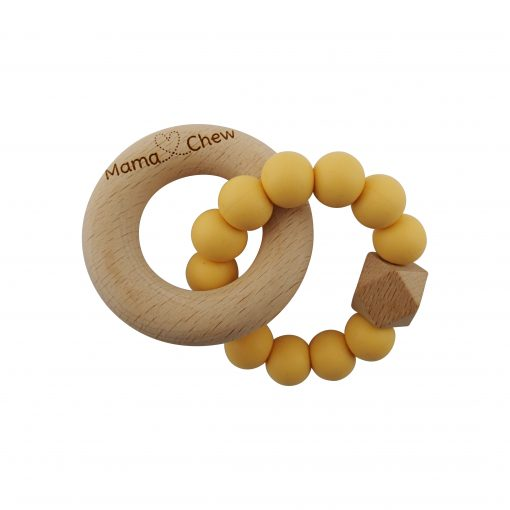 Hex & Wood Teether – Mustard