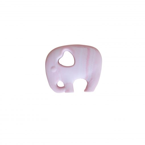 Elephant Teether – Marble Pink